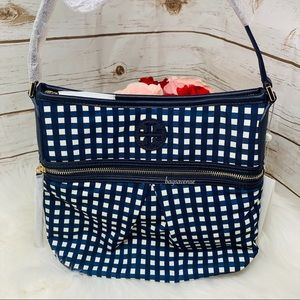 Tory Burch nylon swing pack checker crossbody blue